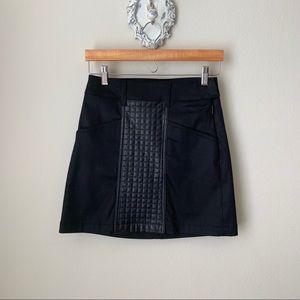 7FAM Black faux leather mini skirt